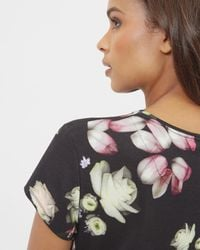 Ted Baker - Black Kensington Floral Fitted T-shirt - Lyst