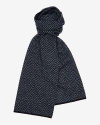 Ted Baker - Blue Herringbone Knitted Scarf for Men - Lyst