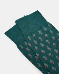 Ted Baker - Green Pantherella Diamond Print Cotton Socks for Men - Lyst
