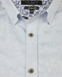 Ted Baker | Blue Floral Jacquard Shirt for Men | Lyst