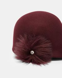 Ted Baker - Red Faux Fur Pom Pom Felt Hat - Lyst