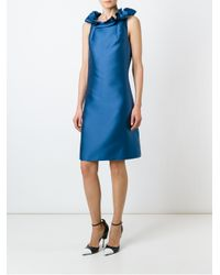 Lanvin | Blue Sleeveless Mini Dress With Rouches | Lyst