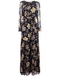 Tory Burch | Black Flowers Long Maxi Dress | Lyst