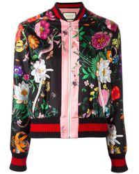 Gucci | Multicolor Silk Bomber Flora Snake | Lyst
