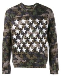 Valentino | Green Camouflage And Stars Sweatshirt for Men | Lyst