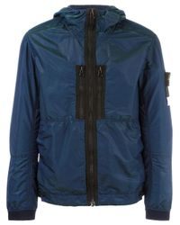 Stone Island - Blue Hooded Shell Jacket for Men - Lyst
