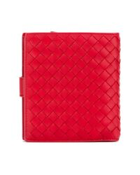 Bottega Veneta - Red Small Leather Wallet - Lyst