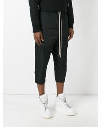 Rick Owens - Black 'drawstring Cropped' Trousers for Men - Lyst