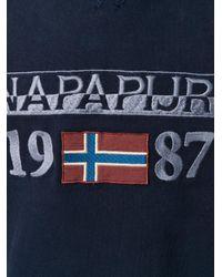 Napapijri - Blue Logo Embroidered Hoody for Men - Lyst