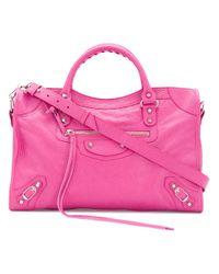 Lyst - Balenciaga Borsa In Pelle Con Logo in Pink d7c24f4397d