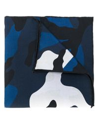 Valentino - Blue Camouflage Silk Scarf - Lyst