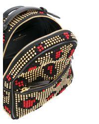Les Petits Joueurs - Black Studded Leopard Patch Backpack - Lyst