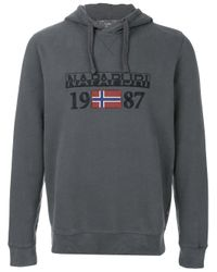 Napapijri - Gray Logo Embroidered Hoody for Men - Lyst