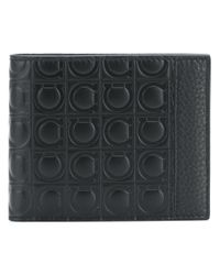 Ferragamo - Black Embossed Gancio Wallet for Men - Lyst