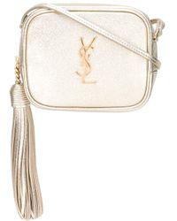 cd9df94019 Lyst - Saint Laurent Monogram Blogger Leather Shoulder Bag in Metallic