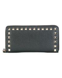 Valentino - Black Rockstud Continental Ziparound Leather Wallet - Lyst