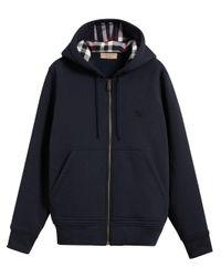 Burberry - Blue Check Detail Hooded Sweatshirt for Men - Lyst