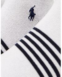 Polo Ralph Lauren | White 3-pack Striped Trainer Socks for Men | Lyst