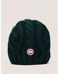 77f98256614 Canada Goose Womens Cable Knit Beanie Green in Green - Lyst