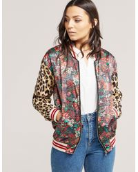 Maison Scotch   Multicolor Women's Silky Feel Print Mixed Bomber Jacket With Lurex Ribs   Lyst