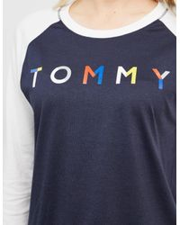 Tommy Hilfiger - Womens Three Quarter Sleeve T-shirt - Online Exclusive Blue - Lyst