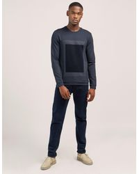 Armani - Blue Flocked Sweatshirt for Men - Lyst