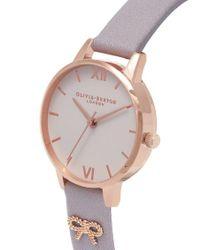 Olivia Burton - Gray Vintage Bow Embellished Strap Watch - Lyst