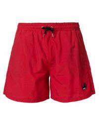 f9290e4c7e McQ Swallow Bagde Swim Trunks in Red for Men - Lyst