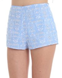 Ermanno Scervino - Light Blue Sangallo Lace Shorts - Lyst