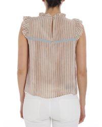 c81bba4edb5b2 Lyst - Manila Grace White And Pink Striped Top in White