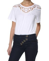 Chloé White Cotton T-shirt With Crochet Lace