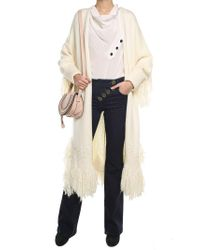 Chloé - Natural Cream Virgin Wool Coat With Fringes - Lyst
