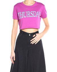 Alberta Ferretti - Purple Thursday Crop T-shirt - Lyst