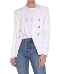 Balmain - White Double-breasted Jacket - Lyst