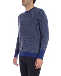 Drumohr - Blue Geometric Sweater With Grey Pattern for Men - Lyst