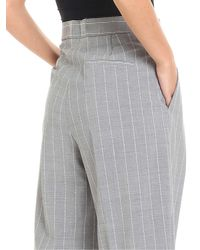 Erika Cavallini Semi Couture - Gray Striped High Waisted Trousers - Lyst