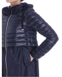 Herno - Blue Flared Coat With Feather Inserts - Lyst