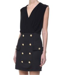 Balmain - Black Dress With Golden Buttons - Lyst