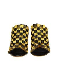 Proenza Schouler - Black And Golden Raffia Sandals - Lyst