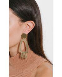 Modern Weaving - Multicolor Brass Odd Oval Fringe Earrings - Lyst