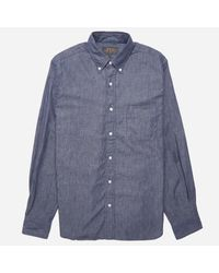 8433d3344c1 Lyst - Beams Plus Button Down Denim Shirt in Blue for Men