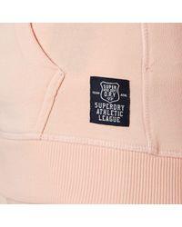 Superdry - Pink Athletic League Loopback Zip Hoody - Lyst