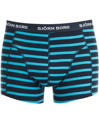 Björn Borg - Blue 3 Pack Stripe Detail Boxers for Men - Lyst