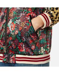 Maison Scotch - Multicolor Women's Silky Feel Print Mixed Bomber Jacket With Lurex Ribs - Lyst