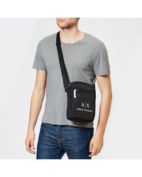 Armani Exchange - Black Contrast Logo Cross Body Bag for Men - Lyst
