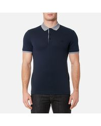 BOSS Green - Blue Paule Collar Detail Polo Shirt for Men - Lyst