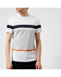 Aquascutum - White Men's Roeburn Block Colour Stripe Tshirt for Men - Lyst