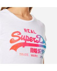 Superdry - White Vintage Logo Burn Out T-shirt - Lyst