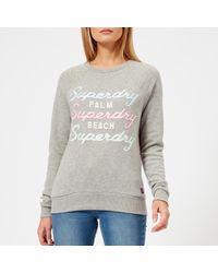 Superdry - Gray Applique Raglan Crew Sweatshirt - Lyst