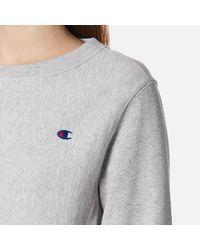 Champion - Gray Women's Crew Neck Sweatshirt - Lyst